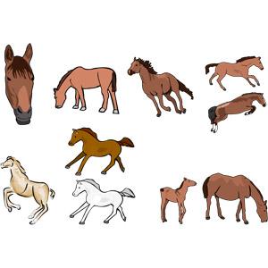フリーイラスト, ベクター画像, AI, 動物, 哺乳類, 馬(ウマ), 白馬, 親子(動物), ジャンプ(動物), 走る(動物), 午年