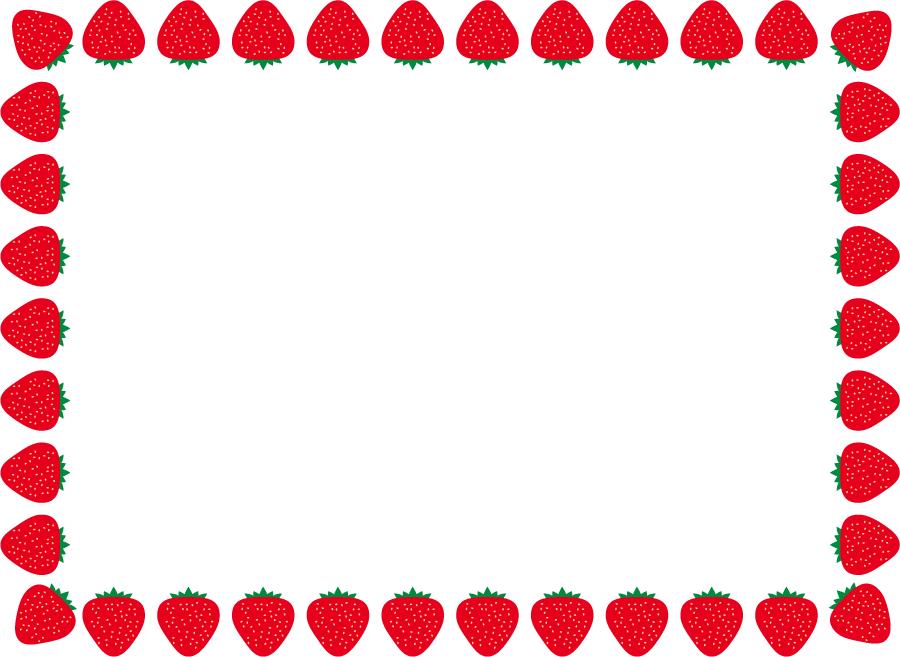 フリーイラスト いちごの飾り枠