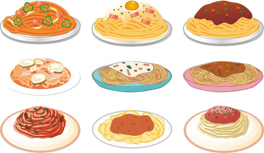 フリーイラスト 9種類のスパゲティのセット