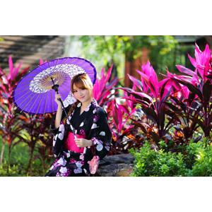 フリー写真, 人物, 女性, アジア人女性, 林海莉(00120), 中国人, 日傘, 和服, 浴衣
