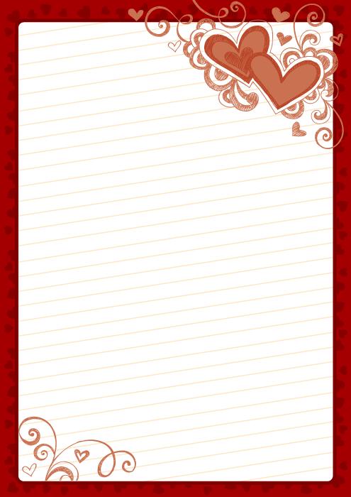 フリーイラスト バレンタインデーの便箋