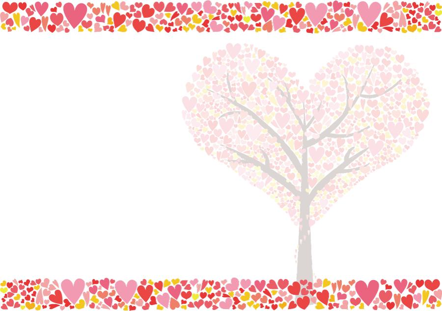フリーイラスト ハートとハートの木の飾り枠