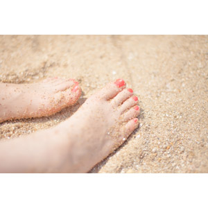 フリー写真, 人体, 足, ペディキュア, 砂浜(ビーチ), 海水浴, 夏