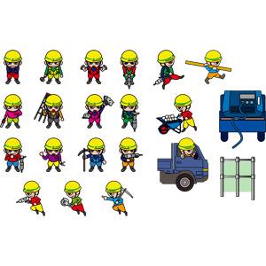フリーイラスト, ベクター画像, EPS, 人物, 男性, 職業, 仕事, 土木, 工事, 建設作業員, 土木作業員, トラック, 工事用ヘルメット, ニッカポッカ, 削岩機, つるはし, 脚立, 手押し車(一輪車), 左官ごて, 腕を組む