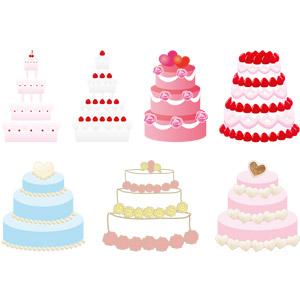 フリーイラスト, ベクター画像, AI, ウェディングケーキ, 食べ物(食料), 菓子, 洋菓子, スイーツ, ケーキ, 結婚式(ブライダル)