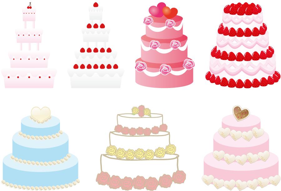 フリーイラスト 7種類のウェディングケーキのセット