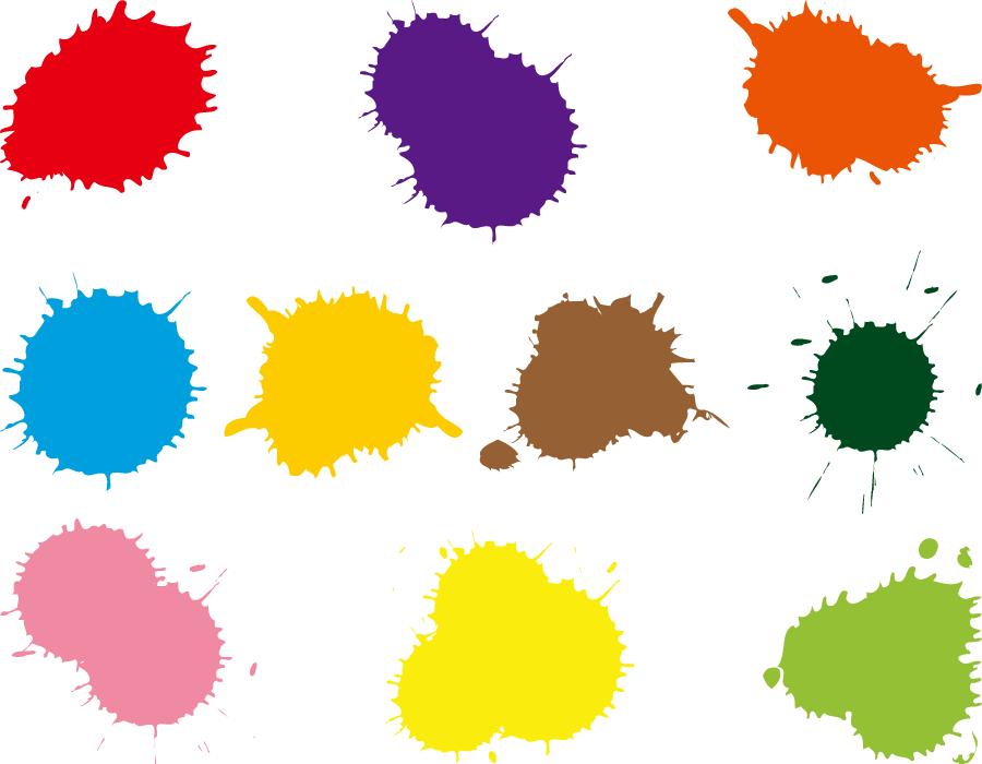 フリーイラスト 10種類のペンキのしぶきのセット