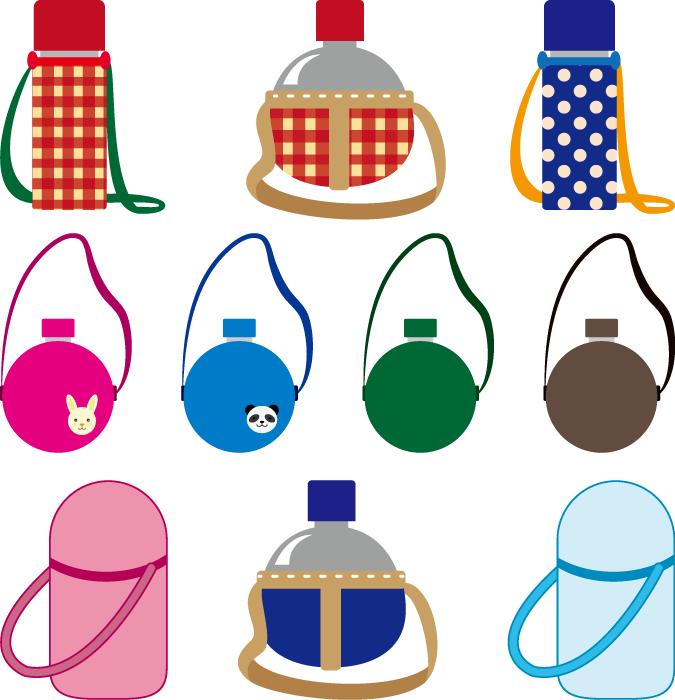 フリーイラスト 10種類の水筒のセット