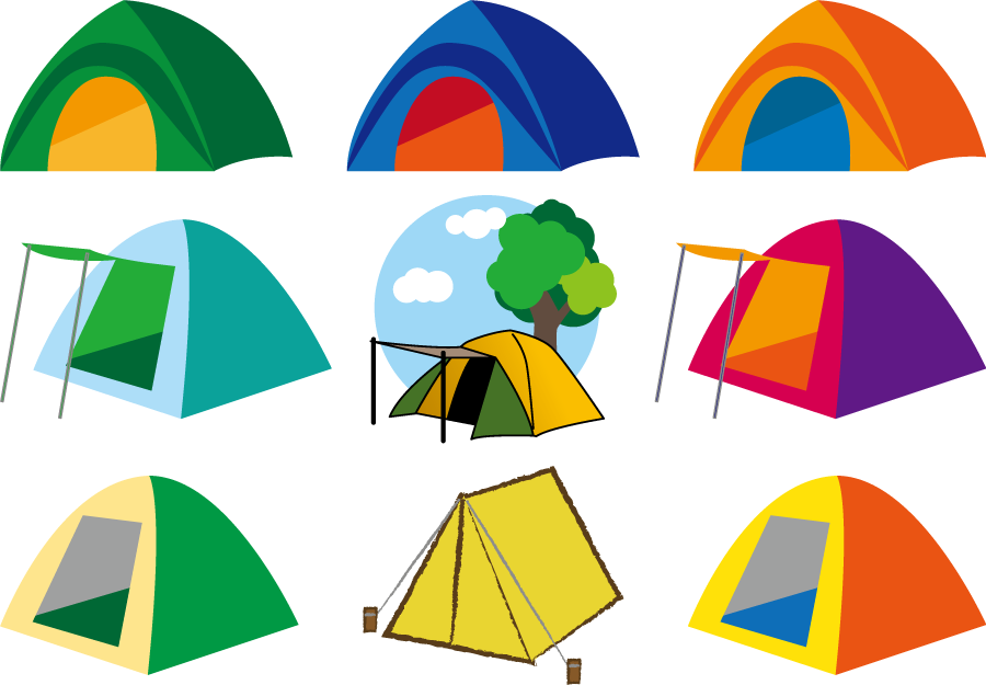 フリーイラスト 9種類のキャンプ用のテントのセット