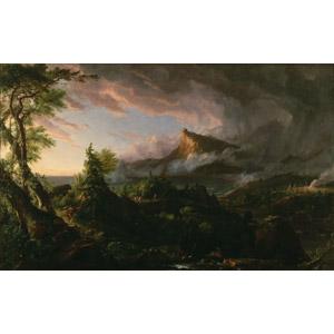 フリー絵画, トマス・コール, 帝国の推移, 原始人, 暗雲, 山, 荒野, 狩猟(狩り)