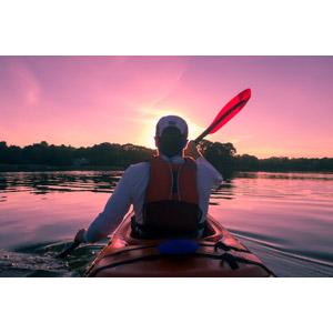フリー写真, 人物, 後ろ姿, 人と乗り物, カヌー(カヤック), アウトドア, 湖, 人と風景, 朝焼け