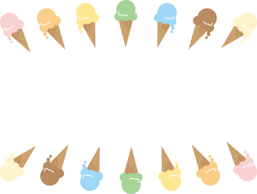 フリーイラスト アイスクリームの飾り枠
