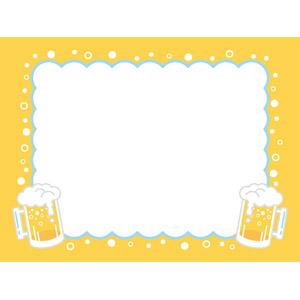 フリーイラスト, ベクター画像, EPS, 背景, フレーム, 囲みフレーム, 飲み物(飲料), お酒, ビール, ビールジョッキ, 夏