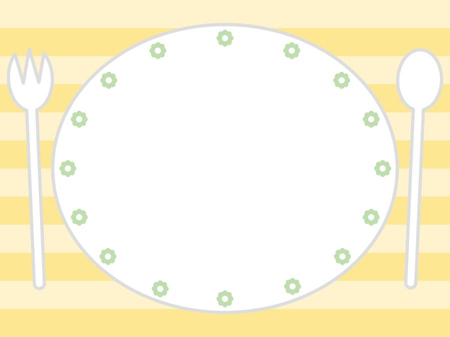 フリーイラスト お皿とスプーンとフォークの背景