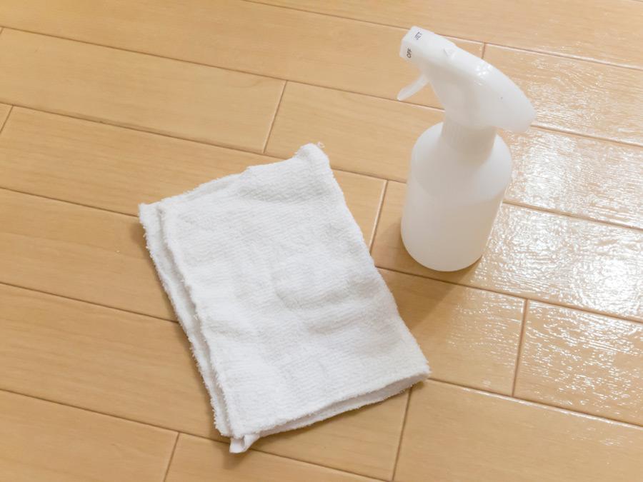 フリー写真 床掃除の為の雑巾と掃除用洗剤