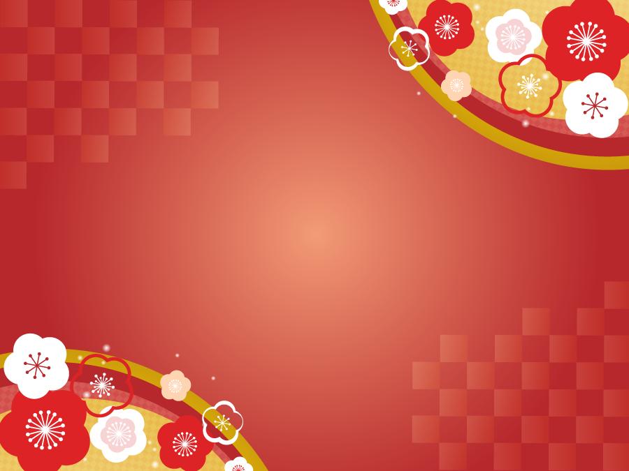 フリーイラスト 梅の花の新春の飾り枠
