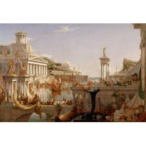 フリー絵画, トマス・コール, 帝国の推移, 古代都市, 建造物, 建築物, 運河, 船, 彫像, 人込み(人混み), 街並み(町並み)