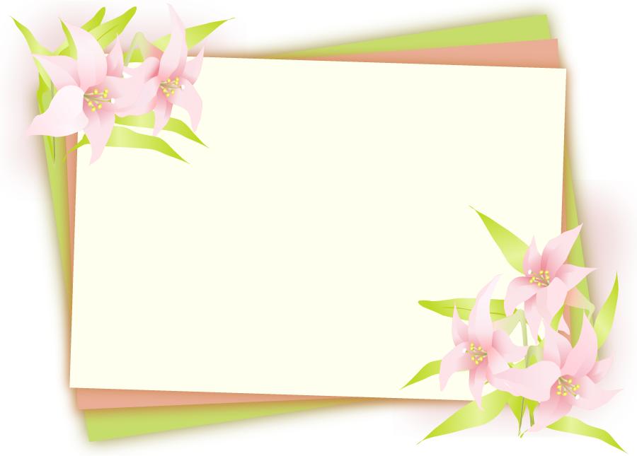 フリーイラスト 百合の花の飾り枠