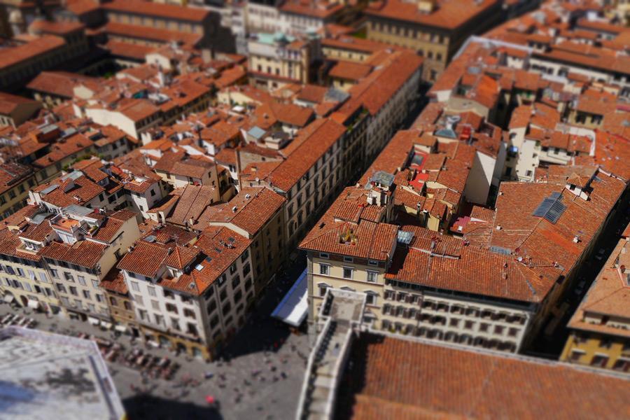 フリー写真 フィレンツェの旧市街の街並み