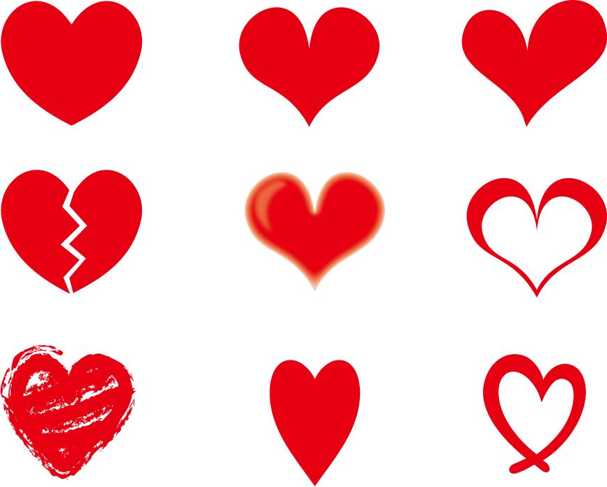 フリーイラスト 9種類の赤色のハートのセット