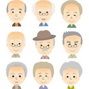 フリーイラスト, ベクター画像, AI, 人物, 老人, 祖父(おじいさん), シニア男性, 老眼鏡, 白髪