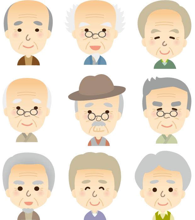フリーイラスト 9人のおじいさんのセット