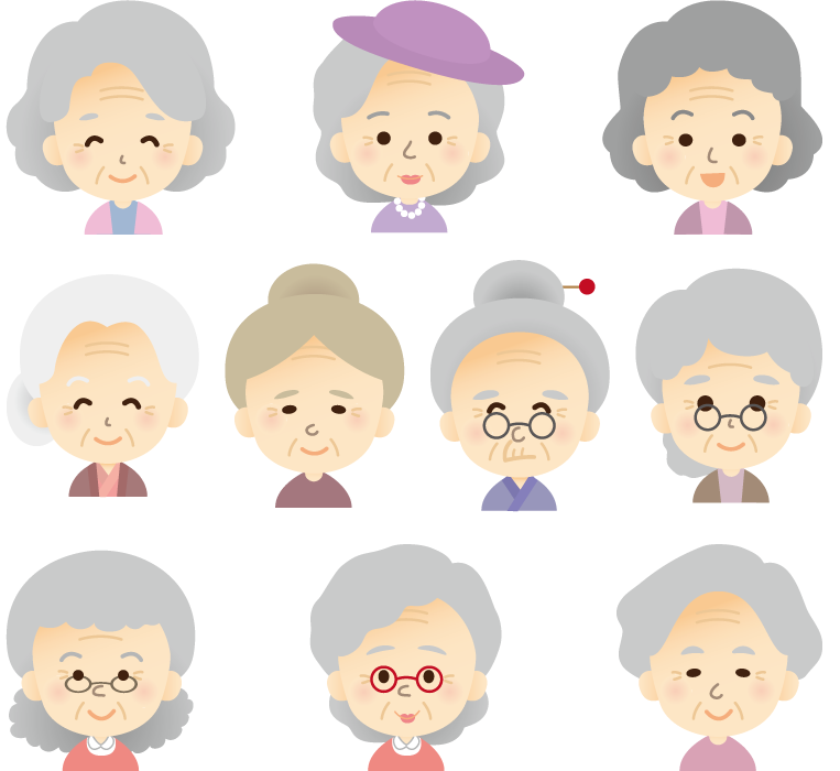フリーイラスト 10人のおばあさんのセット