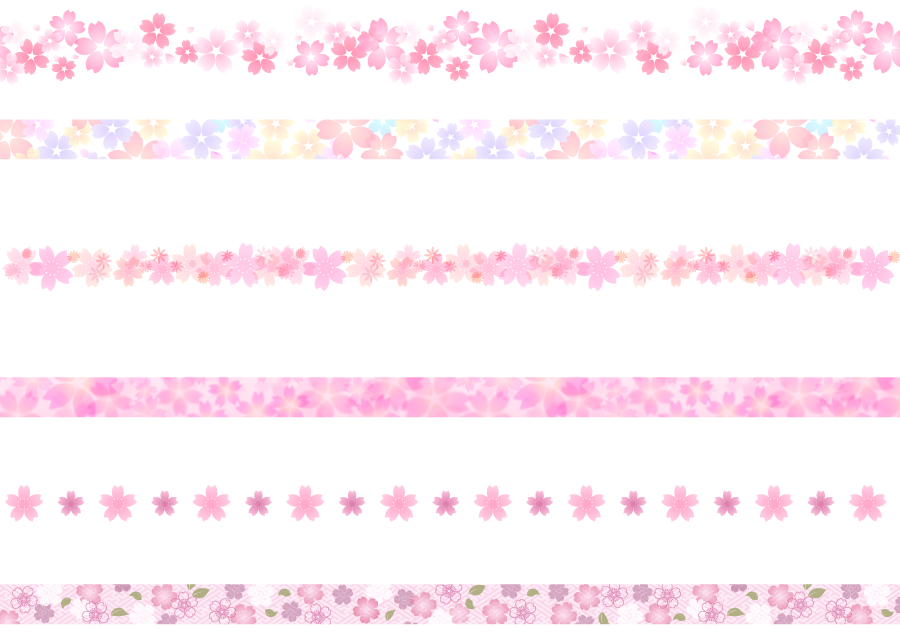 フリーイラスト 6種類のさくらの花柄のラインのセット