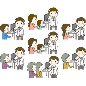 フリーイラスト, ベクター画像, AI, 人物, 男性, 職業, 仕事, 医者(医師), 医療, 診察, 患者, 女性, 親子, 母親(お母さん), 子供, 男の子, 女の子, 祖父(おじいさん), 祖母(おばあさん)