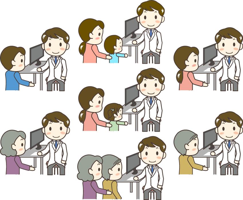 フリーイラスト 7種類の診察中のお医者さんと患者のセット