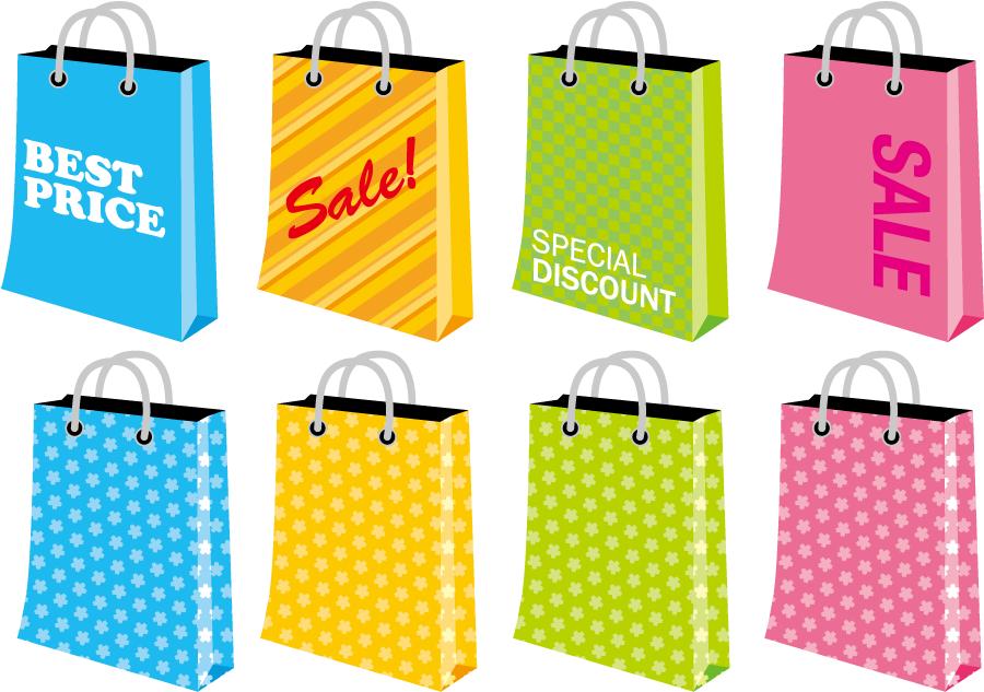 フリーイラスト 8種類のショッピングバッグのセット