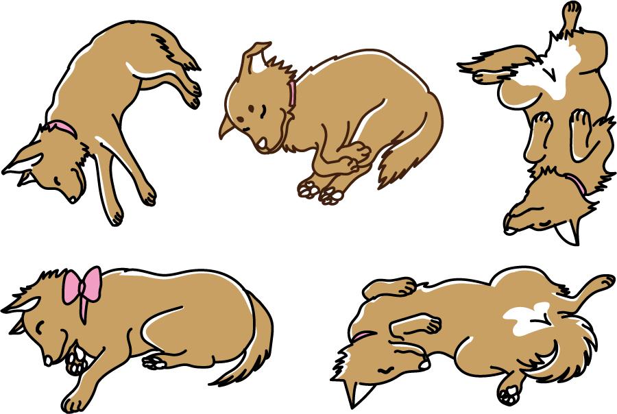 フリーイラスト 5種類の寝ている犬のセット
