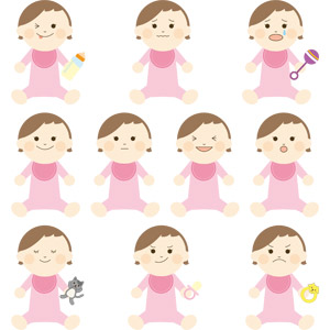 フリーイラスト, ベクター画像, AI, 人物, 子供, 赤ちゃん, ウインク, 哺乳瓶, ぬいぐるみ, 笑う(笑顔), おしゃぶり, 怒る, 泣く(泣き顔), ガラガラ, よだれかけ