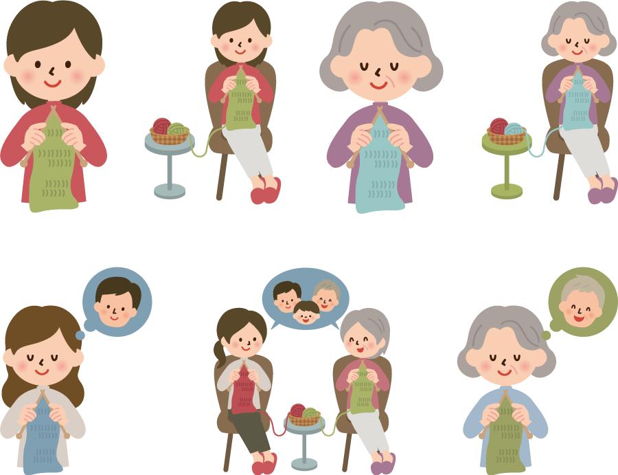 フリーイラスト 7種類の編み物をする女性のセット