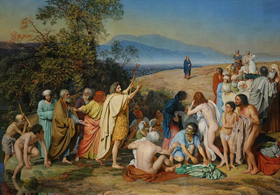 フリー絵画 アレクサンドル・アンドレイェヴィチ・イワノフ作「民衆の前に現れたキリスト」