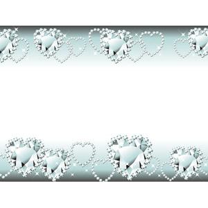 フリーイラスト, ベクター画像, AI, 背景, フレーム, 上下フレーム, ダイヤモンド, 宝石, 輝き, ハート
