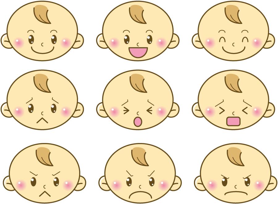 フリーイラスト 9種類の喜怒哀楽の赤ちゃんの顔