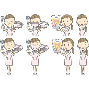 フリーイラスト, ベクター画像, AI, 人物, 女性, 職業, 仕事, 歯科助手, 歯科衛生士, デンタルケア, 医療, 照れる, 頬に手を当てる, 歯, 衛生マスク