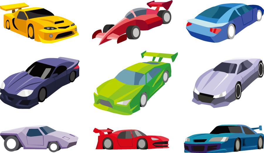 フリーイラスト 9種類のスポーツカーのセット