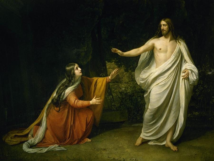 フリー絵画 アレクサンドル・アンドレイェヴィチ・イワノフ作「復活後にマグダラのマリアの前に現れたキリスト」
