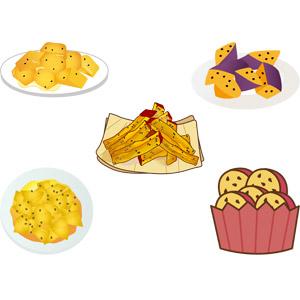 フリーイラスト, ベクター画像, AI, 食べ物(食料), 芋料理, 菓子, 和菓子, 大学芋, さつまいも