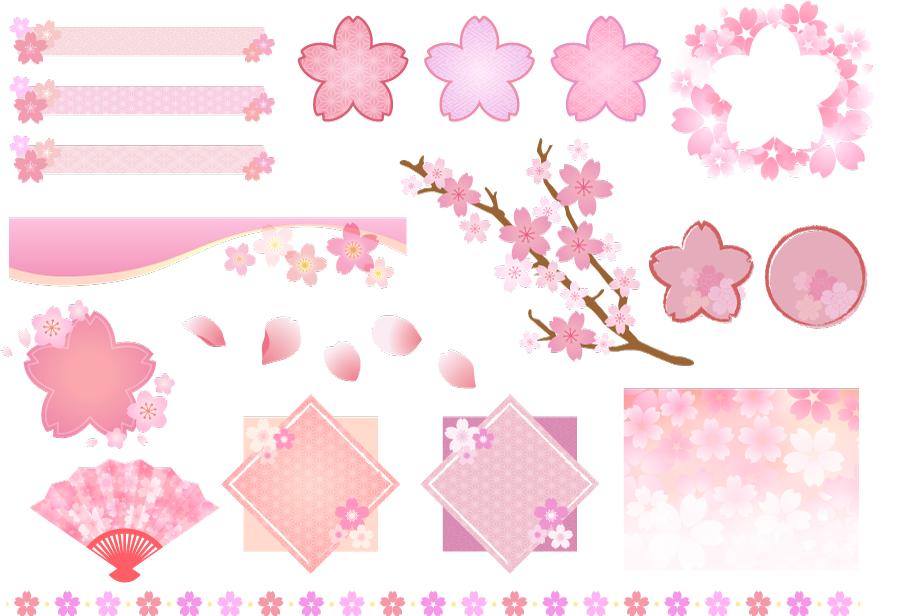 フリーイラスト 桜の花の飾りセット