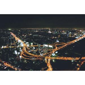フリー写真, 風景, 建造物, 建築物, 都市, 街並み(町並み), 高速道路, ジャンクション, 夜, 夜景, タイの風景, バンコク