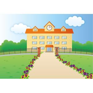 フリーイラスト, ベクター画像, EPS, 風景, 建造物, 建築物, 学校, 校舎, 小学校, 花, パンジー