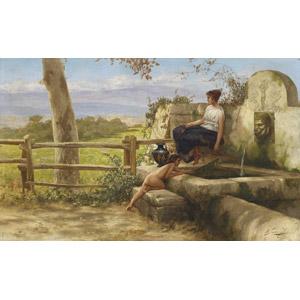 フリー絵画, ヘンリク・シェミラツキ, 泉, 子供, 女性, 田舎
