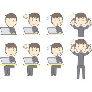 フリーイラスト, ベクター画像, AI, 人物, 少年, 少年(00130), 学生服, 学生(生徒), 高校生, 中学生, 学ラン, パソコン(PC), ノートパソコン, 困る, 焦る, ピースサイン, 冷や汗をかく, 喜ぶ(嬉しい)