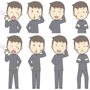 フリーイラスト, ベクター画像, AI, 人物, 少年, 少年(00130), 学生服, 学生(生徒), 高校生, 中学生, 学ラン, 欠伸(あくび), 失敗, 照れる, 悩む, 考える, 腕を組む, 冷や汗をかく
