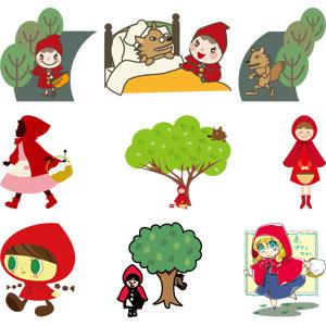 フリーイラスト, ベクター画像, AI, 童話(おとぎ話), 赤ずきん, 女の子, 頭巾, 狼(オオカミ), グリム童話