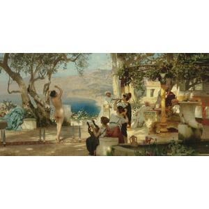 フリー絵画, ヘンリク・シェミラツキ, 古代ギリシア, 古代ローマ, 演奏する, 踊る(ダンス), 刀剣, 音楽