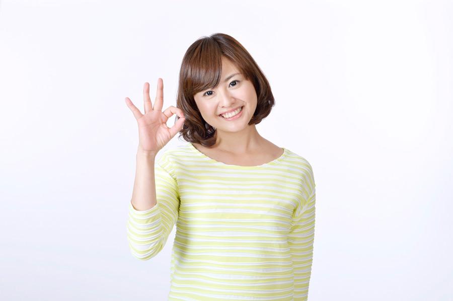 フリー写真 OKサインを出す日本人女性